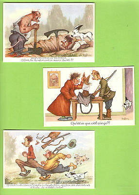RAFFRAY   lot 3  cartes postales cpsm CHASSE  Humour années 60/70