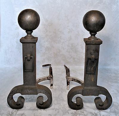 Antique 19th C. Arts and Crafts Bradley and Hubbard Cast Iron Andirons B&H #9597