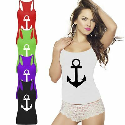 Racerback Vest Anchor Print Lycra Womens Strappy Casual Gym Ladies Party Top