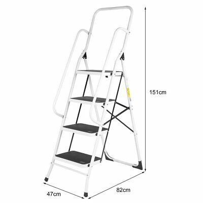 3 4 Step Ladder Steel Non Slip Tread Stepladder Safety Rail Handrail Foldable UK