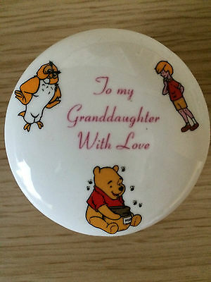 """Winnie the Pooh China Trinket Box """"To my Granddaughter with Love"""""""