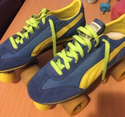 Puma Women's Roller Skates Size 11 US/W Or 10 US/M. Roller Derby Blue & Yellow