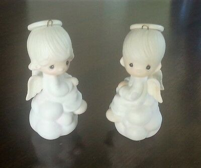 Precious Moments But Love Goes On Forever Boy & Girl Angel Ornaments E5627-E5628