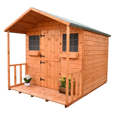 Shedrites 8X8 Inc 2Ft Porch  Secret Lodge Playhouse  With Extra Height