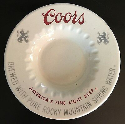 Vintage 1970's~Coors Beer~Ceramic Cigarette Ashtray~Bar Collectible~Clean~Heavy