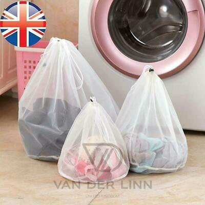 *UK Seller* PREMIUM Drawstring LAUNDRY Net Bag Wash Mesh Bra Underwear 3 SIZES