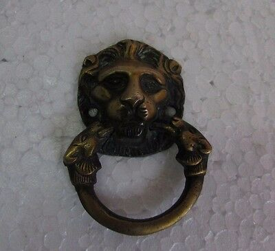Vintage style Handcrafted Lion Engraved Brass Drawer Handle Pulls collectible