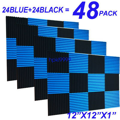 48Pack 1x12x12 BLUE BLACK Acoustic Panels Studio Soundproofing Foam Wedge tiles