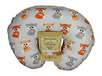 Nursing Pillow Slipcover Baby Gray Foxes Cover Maternity Breastfeeding Newborn