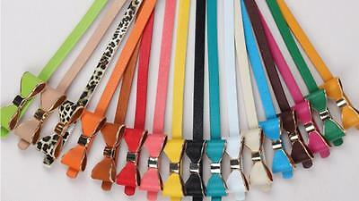 Girls Ladies Bow Bowknot Candy Colour Skinny Leather Waist Buckle Belt UK