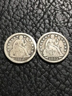 1852 (G) & 1853 (F) Liberty Seated Dimes - Lot Of 2 .   Inv#5256