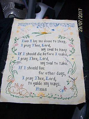 Beautifully Embroidered Child's Bedtime Prayer - From 1950