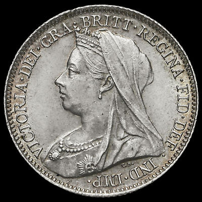 1901 Queen Victoria Veiled Head Silver Sixpence, UNC
