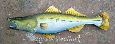 Snook Carved, painted from Palm Tree Frond Dolphin fish art nautical decor beach