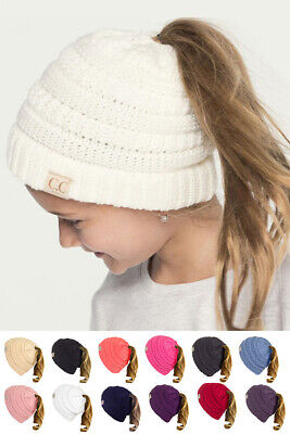 ScarvesMe C.C BeanieTail Kids Children's Soft Ponytail Messy Bun Beanie