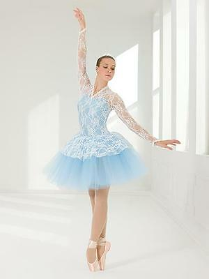 Dance Costume Small Adult Blue White Lace Ballet Pointe YAGP Solo Competition