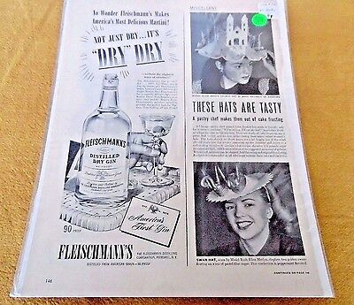 Fleischmann's Dry Gin Full Pages Black & White Magazine Print Ad-1947-Two Sides