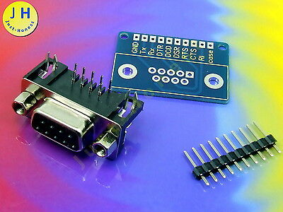 Adapter RS232 <-> 10 polig Stiftleiste Breadboard Serial Steckboard DB9 #A1488