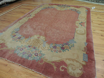 Chinese Art Deco Oriental Rug 6x9 wool rose beige Antique - Beautiful!