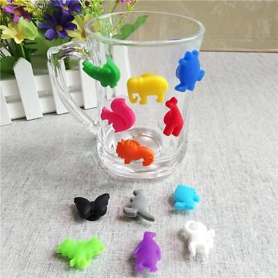 12 Silicone Suction Wine Glass Bottle Drink Markers Charms Cup Identify Label LH