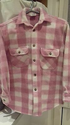 Boys Retro Vintage Fleece Shirt -  Age 10 Long Sleeve Pink Check