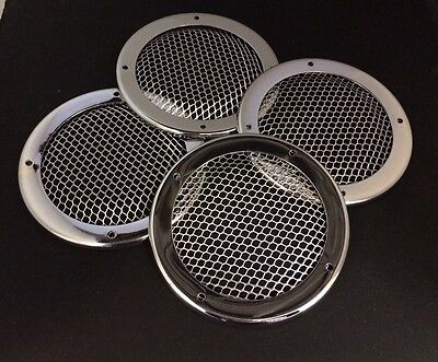 4 x Round chrome grills, canal boat, cruiser, river, narrow boat