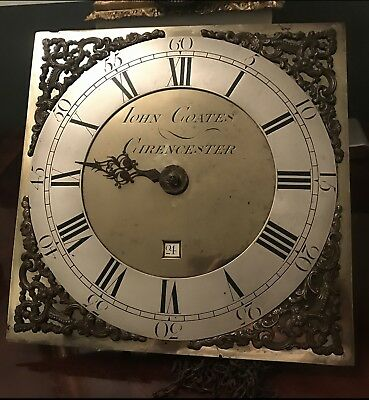 """30 Hour 10.5"""" Brass And Silvered Dial John Coates Of Cirencester GOOD MAKER"""