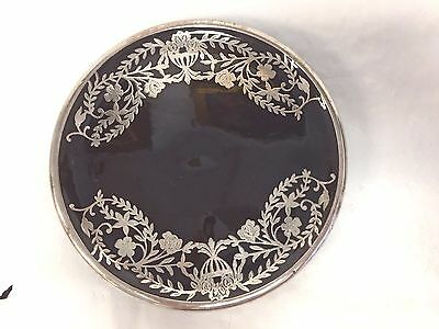 """Sadler England Brown Pottery Sterling Silver Overlay Small Trivit 5 3/4"""""""