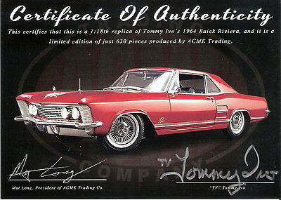 ACME 1:18 Tommy Ivo's 1964 Buick Riviera with C.O.A. signed by Tommy