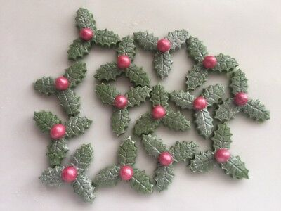 24 Edible Sugarpaste Sparkly Triple Holly Leaves with Red Berry