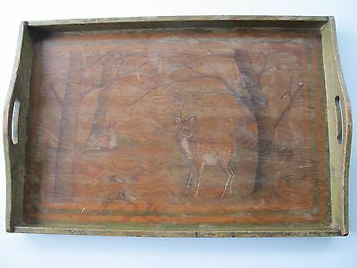 antique wooden tray hand painted with deer faun and trees - art deco? beautiful