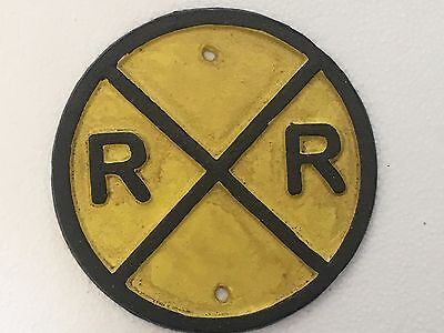 "6"" Heavy Cast Iron Train Track Crossing Railroad Railway Rr Yellow Sign Plaque"