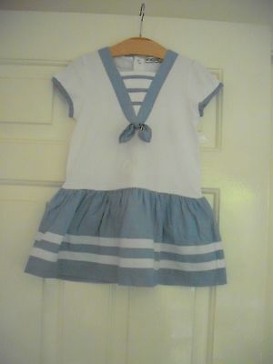 MAYORAL - SHORT SLEEVED PALE BLUE/WHITE DRESS with Matching Pants - 18-24 Months