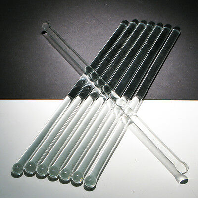 """Set of 8 Crystal Clear Glass Rods Swizzle Sticks - 7"""" Stirrers Mixers"""
