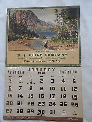 1946 H.j.heinz Company Calendar-Fishing In Paradise Creek