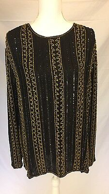Women's Sequin Beaded Black & Gold Silk Top Size 2X Long Sleeve Plus Size