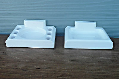 Vintage Bathroom White Porcelain Soap Dish & Toothbrush / Cup Holder  Wall Mount