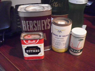 vintage tin containers, lot of 4, Hershey's Choc., Durkee's Mace, Staff Nutmeg, • $10.00