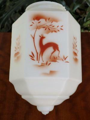 ART DECO Chic VINTAGE Frosted MILK GLASS LIGHT FITTING Shade w Hand Painted DEER