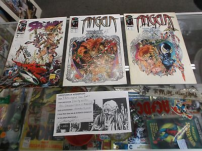 Lot of THREE AUTOGRAPHED BY NEIL GAIMAN * SPAWN 9 & ANGELA 1 & 2 * WOW!!!!!!!!!!