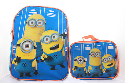 Despicable Me 3 Minions Bookbag Backpack Lunch Box Set School Kids Boys Girls