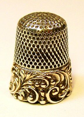 Antique Ketcham & McDougall Gold Band Sterling Silver Thimble Raised Scroll