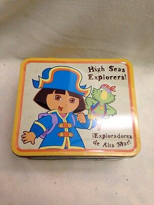 "Dora the Explorer High Sea Explorer 2005 Embossed Tin Lunch Box 8""x7""x3-3/4"""