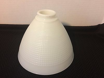 "Corning Milk Glass Diffuser Torchiere Waffle No.820120 8"" Diameter 2 1/4"" Fitter"