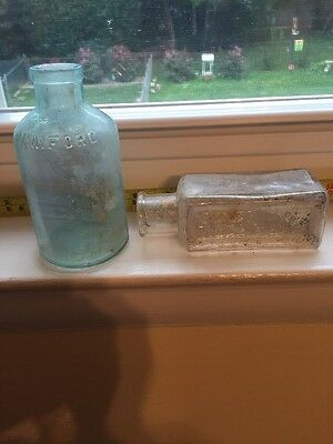 2 Bottles One Boyer & Co  & One Antique Aqua Rumford Bottle