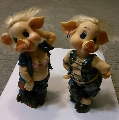 Set of 2 Hogs Pig Collectible BIKER COUPLE Figure w/ Rooted Hair denim & leather • $11.99