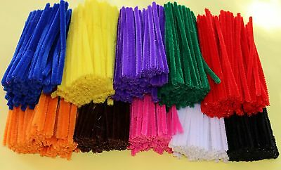 1000 Chenille Sticks Stems Craft Pipe Cleaners FREE POST 6mm x 15cm BULK BUY