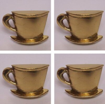 Lots of Four (4) Antique Solid Brass Handmade exceptional Cup  Saucer Knob