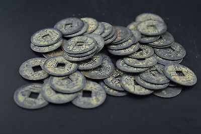 Collect Qing Dynasty Antique Currency Cash 50pcs Chinese Brass Coin
