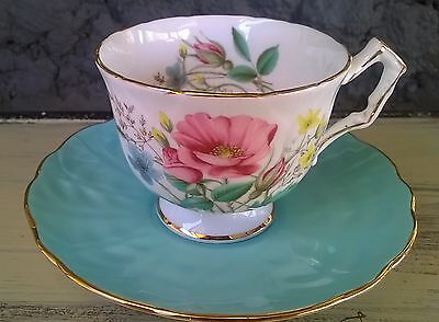 AYNSLEY Turquoise with Wild Roses Stunning Cabinet Tea Cup & Saucer Set